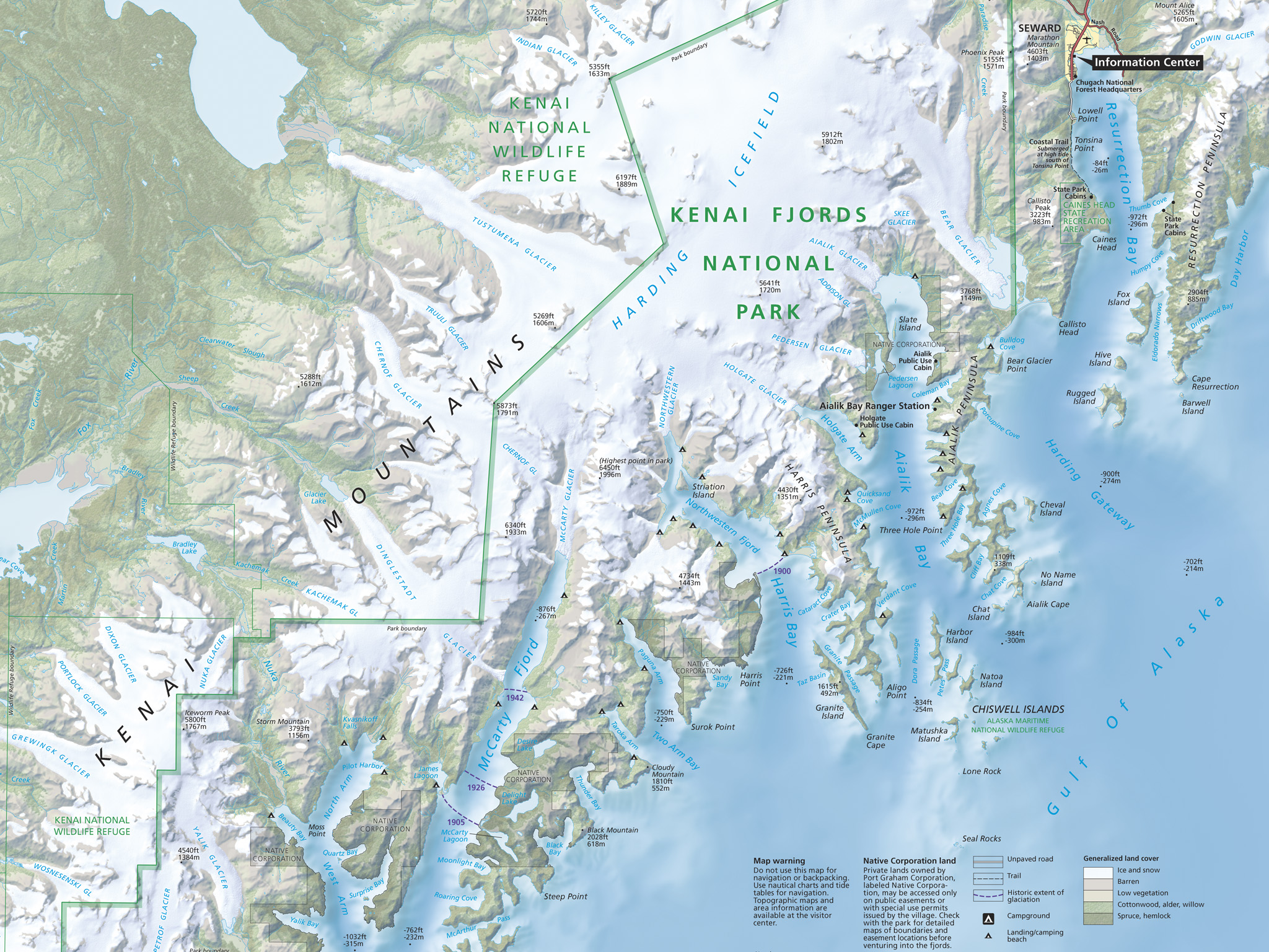 Tom Patterson's National Park Service map of Kenai Fjords.