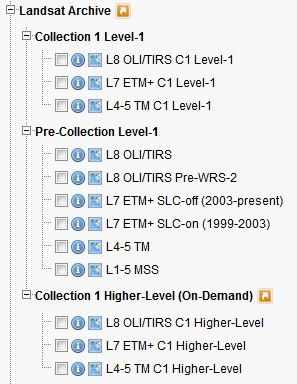 Collection 1 Higher Level, Collection 1 Level-1, and Pre-Collection EE Datasets