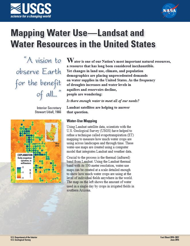 Mapping Water Use Landsat Factsheet 2016