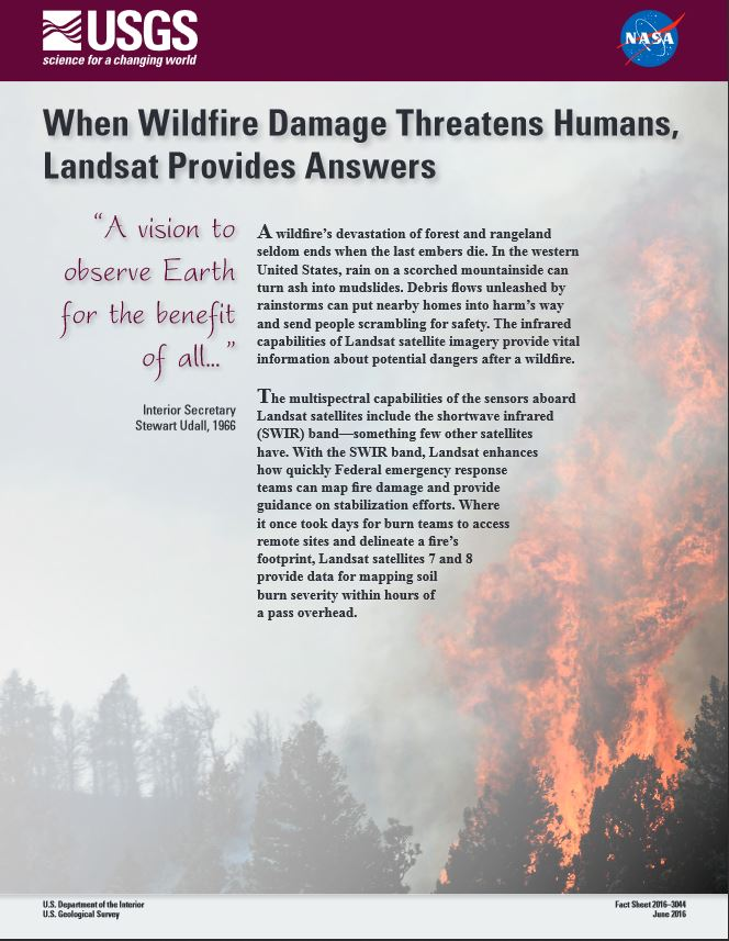Wildfire Damage Landsat Factsheet 2016