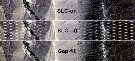 Figure 2-13. The top image shows a subset of a SLC-on scene. The middle, a scene from the same area after the SLC failed. The bottom image shows the middle image, after the SLC gaps were largely filled by interpolation.