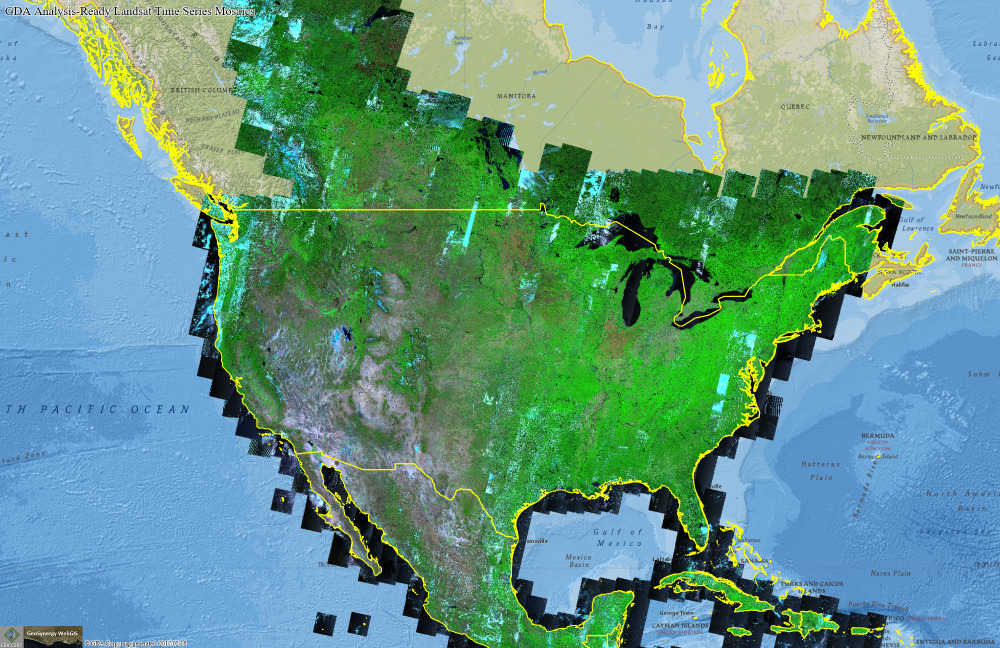 GDA analysis-ready Landsat time series mosaics of the United States.
