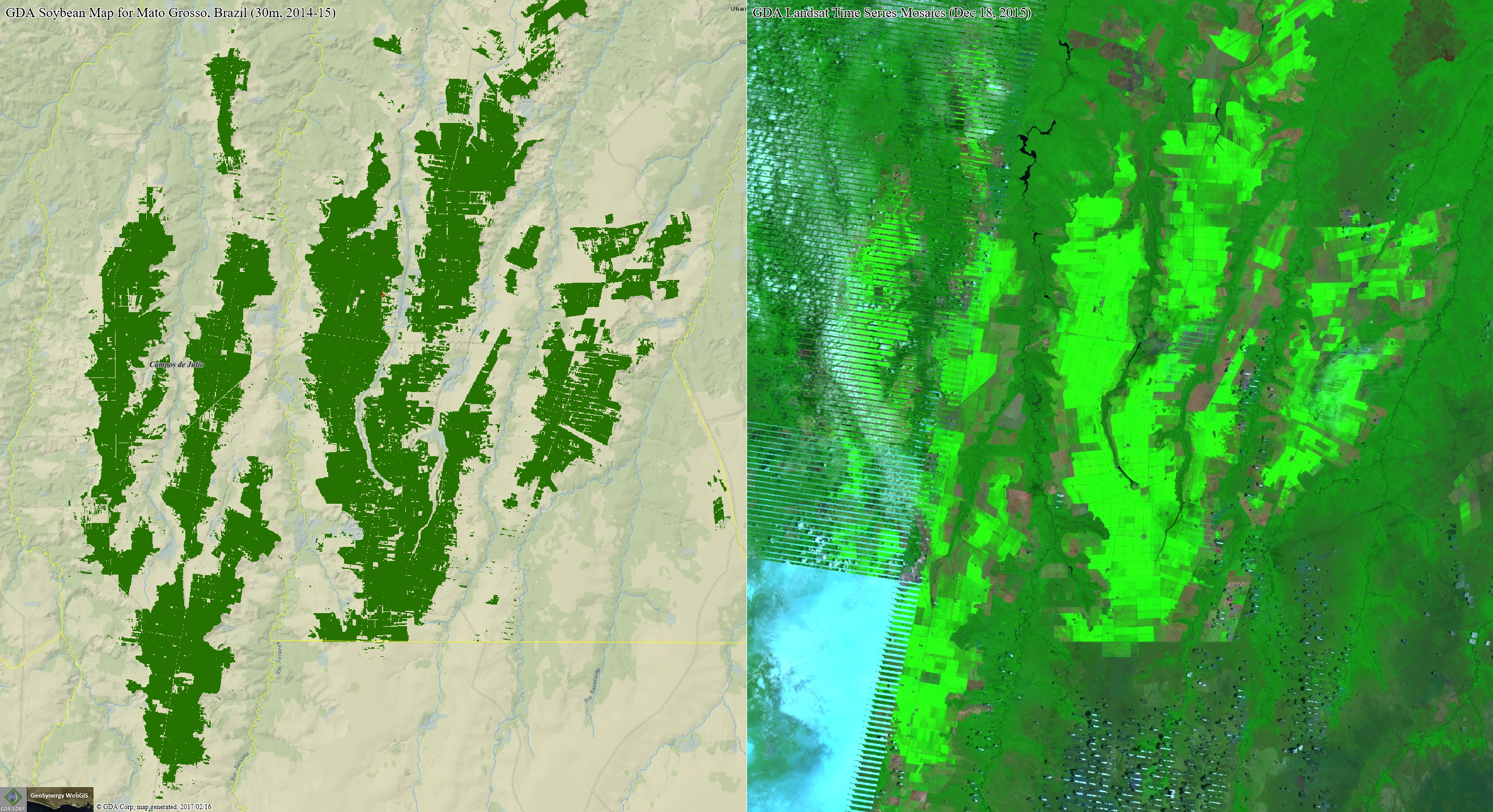 GDA soybean map for Brazil compared to the source Landsat mosaic.