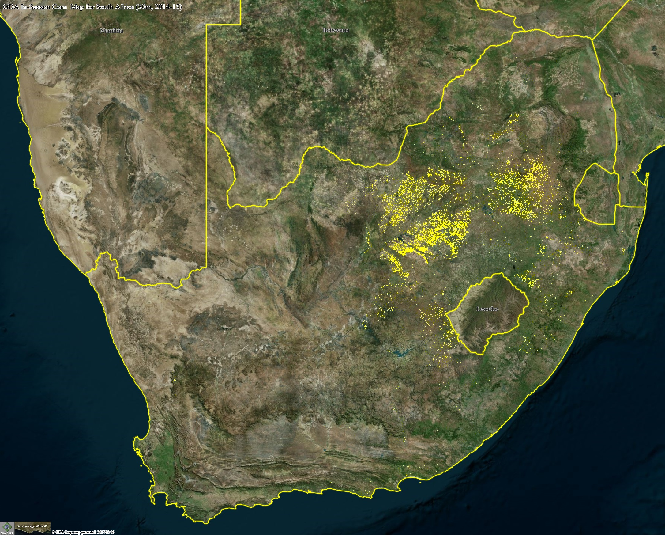 GDA corn map for South Africa draped over the source Landsat mosaic.