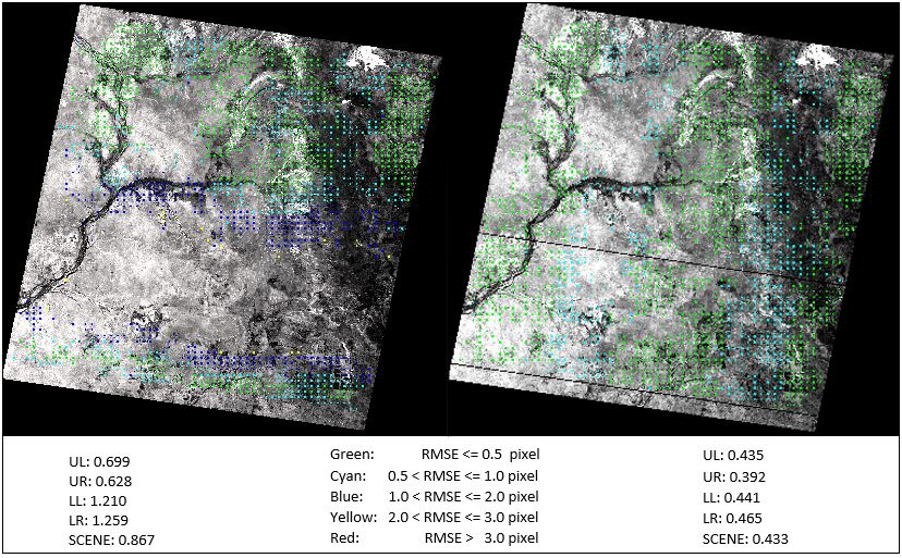 The GVerify results of the Pre-Collection image (left) and Collection 1 image (right) show the validation results of the precision-terrain corrected image by comparing it with a Global Land Survey (GLS) image.