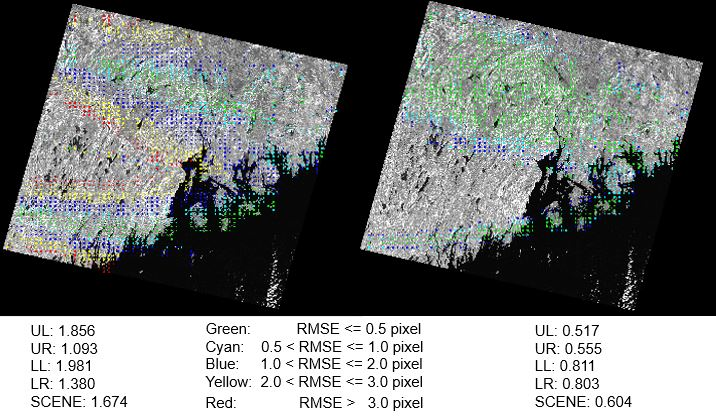 These images indicate the GVerify results for a Pre-Collection precision-terrain image (left) and the Collection 1 image (right). The Gverify RMSE results, split into four equal quadrants of the images, are shown below each image.  These results show an improvement of almost 36 percent in the Collection 1 image.