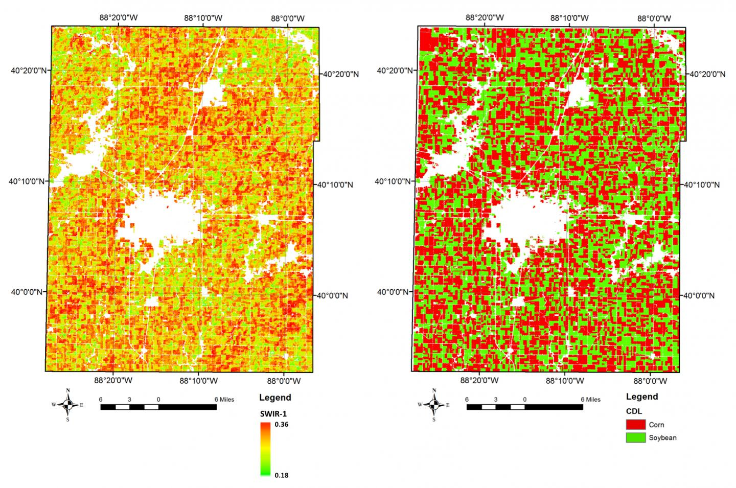 University of Illinois scientists used short-wave infrared bands from Landsat satellites to accurately distinguish corn and soybeans during the growing season. Credit: Kaiyu Guan, University of Illinois