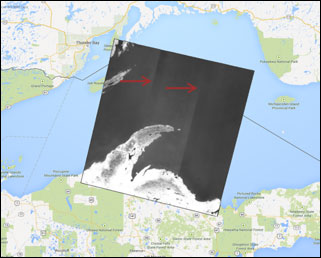 Figure A-1.  TIRS Image of Lake Superior Showing Apparent Time-Varying Errors