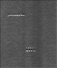Figure A-10. Example of SEU Event Measured by OLI – SEU Manifests as a Line of Single-Frame Bright Spots