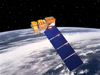 Landsat 7 satellite in space