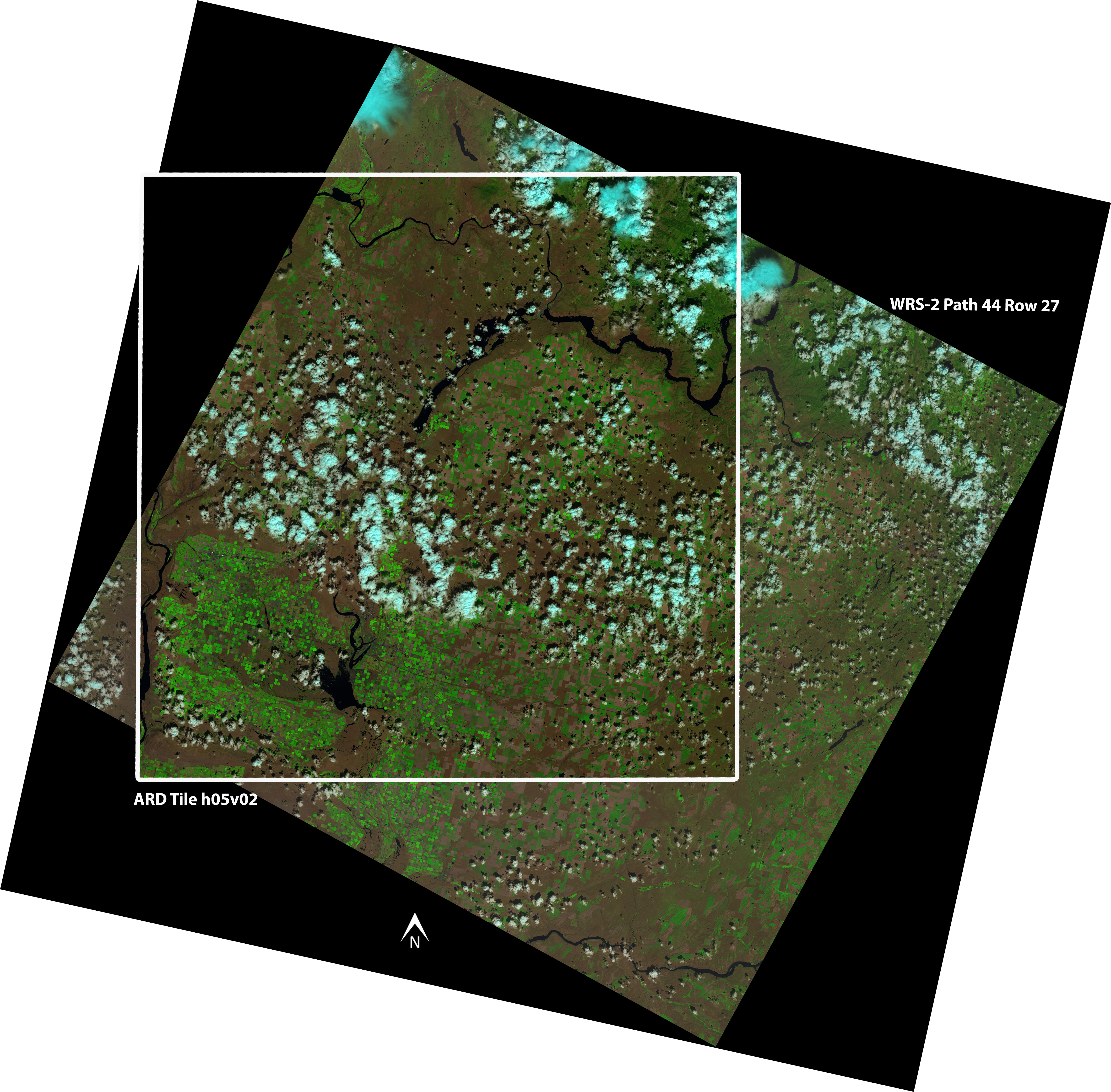 Landsat ARD Tile h05 v02 overlay on Landsat 8 WRS-2 Path 44 Row 27
