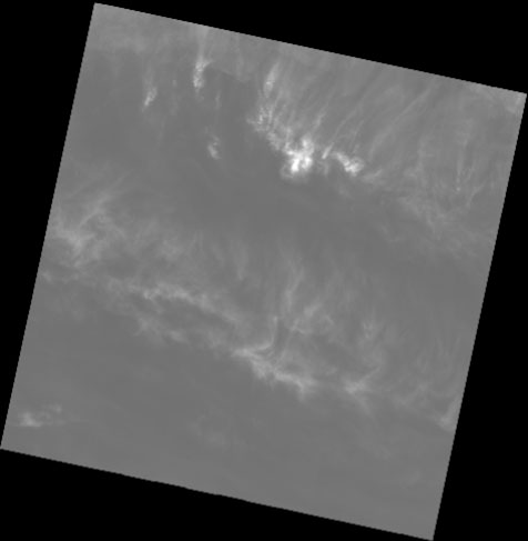 Cirrus band 9 showing where the cirrus clouds are in the image.