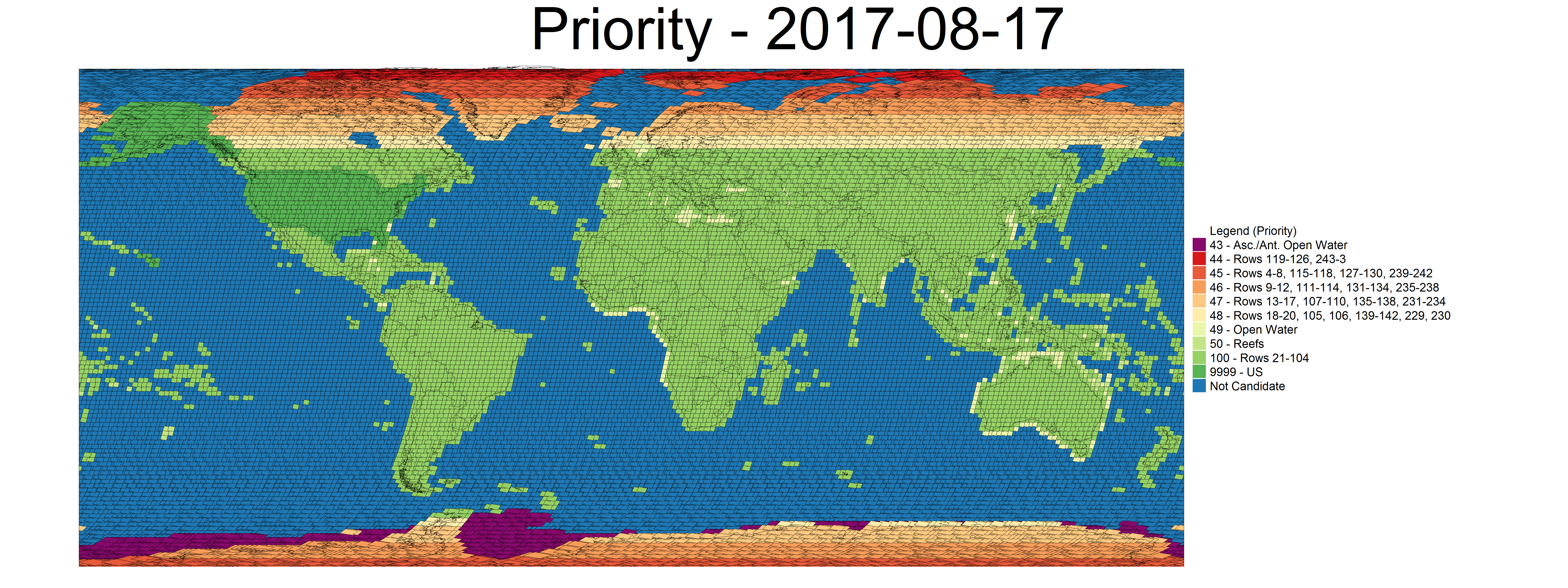 Distribution map of Landsat 8 acquisition priorities