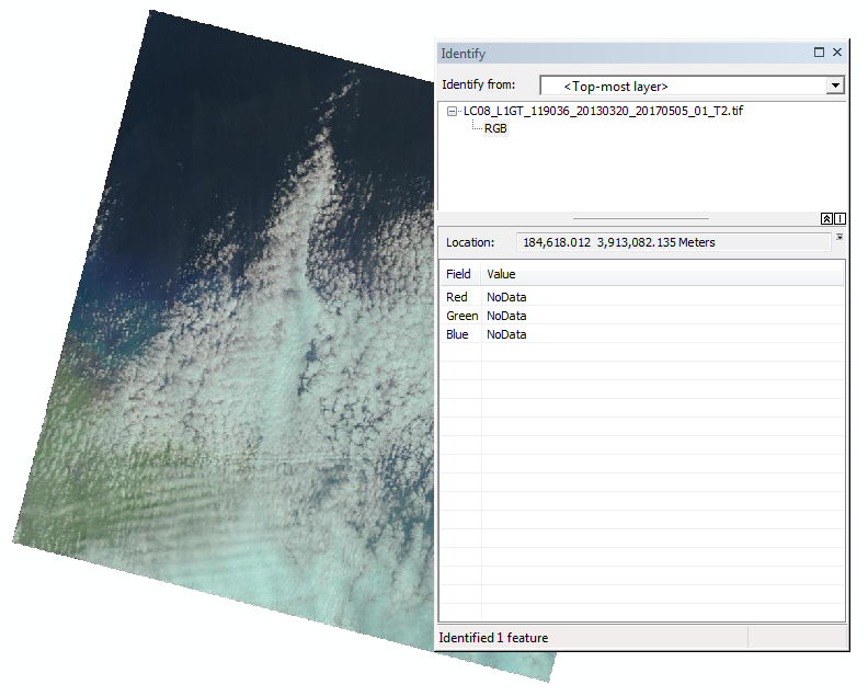 These images display the Landsat Level-1 Full Resolution Browse image, and the changes made to the fill areas of the images. The left image displays RGB 0,0,0, while the right image displays the new value of NoData.