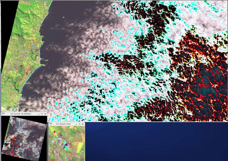 Figure 1.  Example of oversaturated pixels in Landsat 8 Operational Land Imager (OLI) data acquired with lower 12 bits only