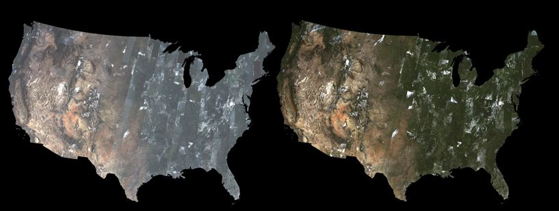 The images above are mosaics created using Landsat 8 Level-1 data (left) and Provisional Landsat 8 Surface Reflectance data (right). Images created December 2014.