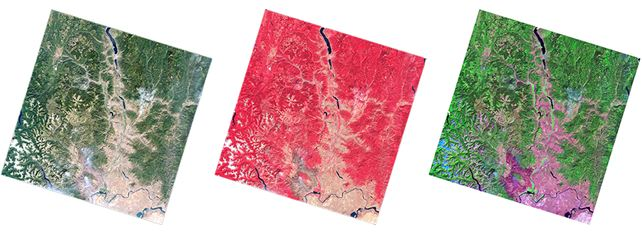 Color composites created using Landsat Level-1 data product. From left: True Color, False Color Infrared, Pseudo Natural Color.