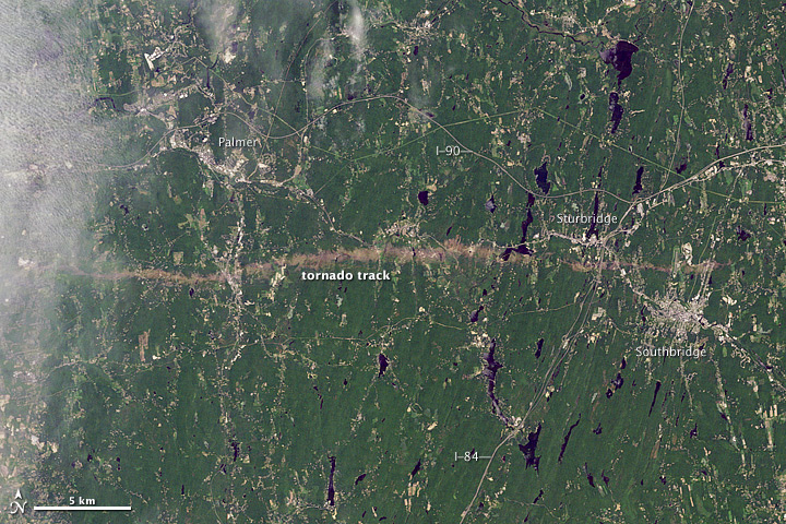 June 2011 Tornado track near Sturbridge Massachusetts