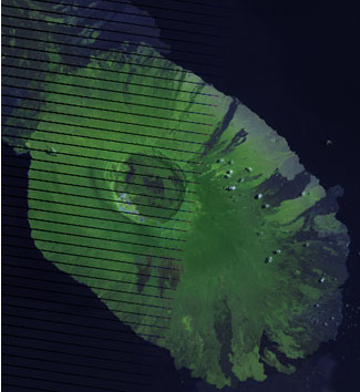 Figure 1. RGB Composite before applying Dust & Scratches filter (Landsat 7 Path 18  Row 60  Acquired  April 7, 2009)