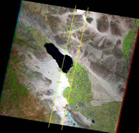 Complete Landsat 7 scene showing affected vs. unaffected area.